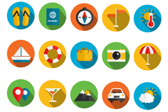 20 summer holiday icon vector