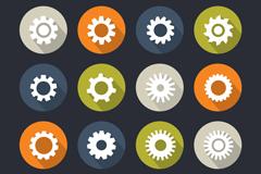 16 circular gear icon vector