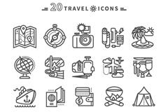 20 travel icon vector