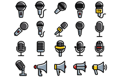 25 the microphone and speaker icons vector