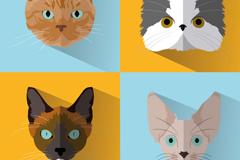 4 fine Cat Head vector