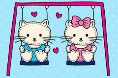 Sitting on the swing cats vector