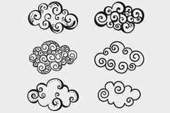 8 hand-painted clouds cloud pattern vector