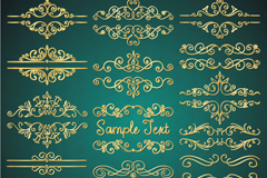 18 gold decorative borders vector