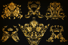 9 gold pattern design vector