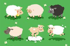 9 cute cartoon sheep vector