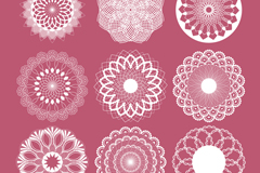 9 white lace pattern vector
