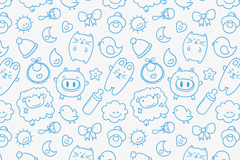 Seamless background blue baby supplies and small animals vector graphics