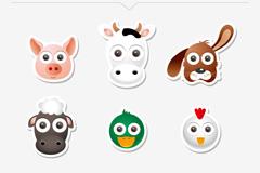 6 animal avatar stickers vector