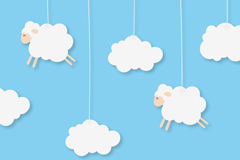 White clouds and sheep, vector