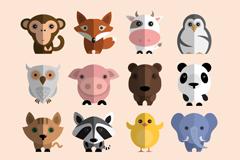 16 cute animals vector
