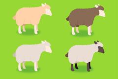 4 color cartoon sheep vector