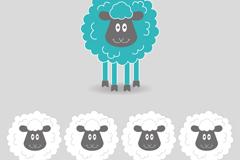 Cute black face sheep, vector