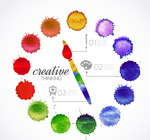 Color brush and dot illustrations vector
