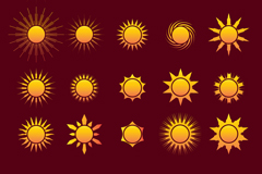 20 Golden Sun icon vector