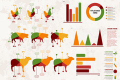 Livestock products business information maps vector