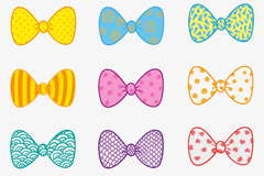 12 cartoon bow vector