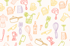 Painted kitchen supplies seamless vector background illustration