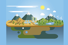 Eco-friendly landscape vector