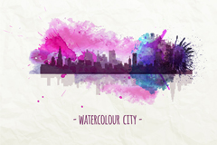 Creative Watercolour city vector