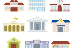 9 public building design vector