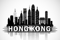 Hong Kong buildings silhouette vector