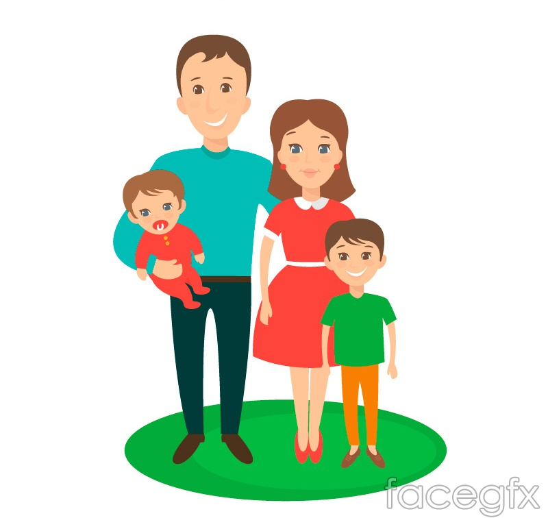 The cartoon family of four vectors is a vector illustration and can be