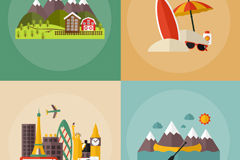 4 travel vacation vector illustration