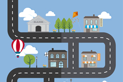 Cartoon roads and construction vector