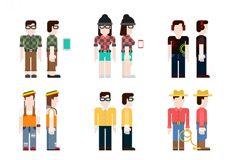 9 creative characters front and side vectors