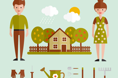 Flat characters and Gardening Tools vector graphics