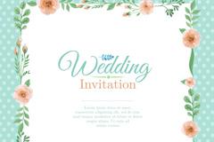 Color wedding invitation cards the flower border vectors