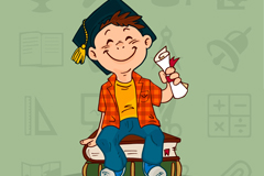 Wear doctoral Hat boy vector