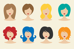 12 color hair woman picture vector diagrams