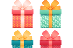4 color gift box vector