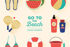 8 cartoon Beach holiday icons vector