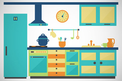 Blue-green kitchen design vector
