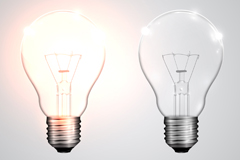 Bright and light bulbs vector