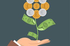 One-handed lifts money flower vector