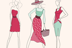 3 hand-painted fashion model vector diagrams