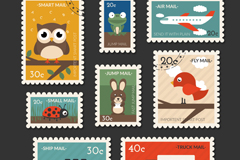 8 travel stamps with animals vector graphics