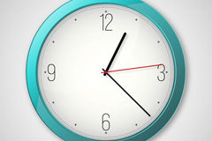 Beautiful clean blue clock vector