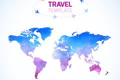 Color travel world map vector