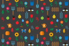 Garden elements seamless background icons vector