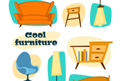 8 fashion furniture design vector graph