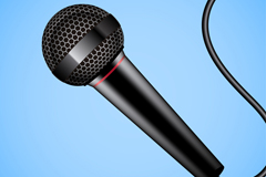 Black wired microphone design vector