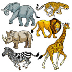 Hand-painted African wildlife vector