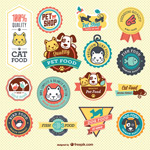 Pet food labels vector