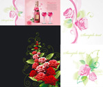 Roses and heart-shaped bottle vector