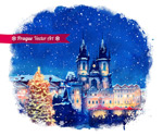 Beautiful Christmas city vector
